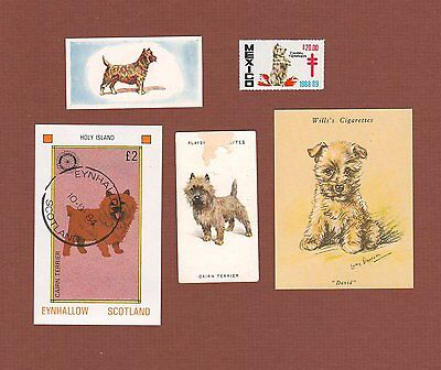 Cairn Terrier dog stamp, TB seal, and trade cards--set of 5