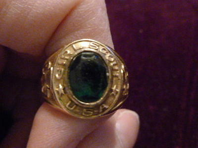 Vintage Girl Scout Ring Green Stone 10K Gold Filled 5 1/2