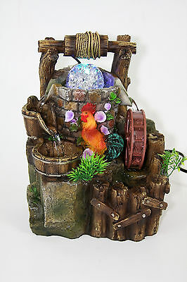 Rooster Indoor Tabletop Water Wheel Fountain LED Rolling Crystal Ball