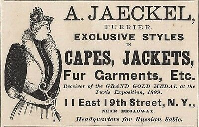 1893 Fashion Ad A. Jaeckel Furrier Victorian Lady Furs Capes Jackets  N. Y.