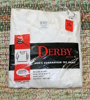 Vtg Early 70s NOS Plain White T Shirt Derby Size XL 46 NIP Thin Rockabilly USA