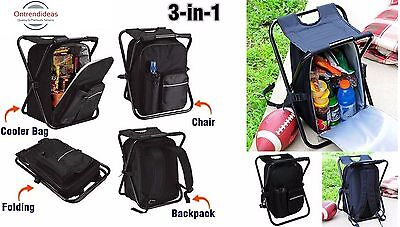 Cooler Bag Backpack And Folding Chair All In One - Camping | Picnic | Festival