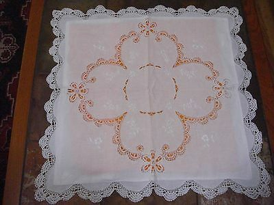 ELEGANT Vintage   PILLOW SHAM White Embroidery & Lace K19