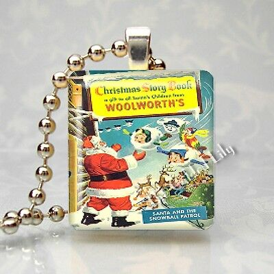 VINTAGE WOOLWORTH CHRISTMAS BOOK Altered Art Scrabble Tile Pendant Jewelry Charm