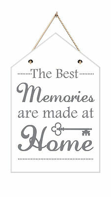 Wooden Wall Plaque Hanging Best Memories Made Home Rule House Shaped Decor New