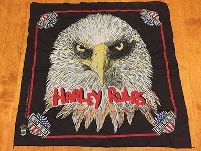Vintage Harley Davidson Bandana Black USA Eagle Head Rules Motorcycle Biker