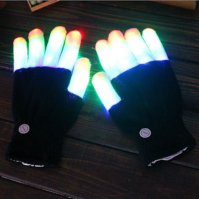 1Pair LED Rave Light Up Flashing Gloves Glow 7Mode Color Finger For Show Party U