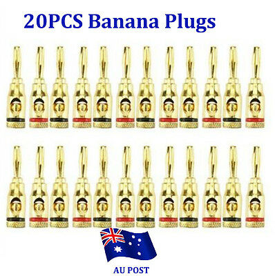 20x 24K Gold Musical Audio Banana Plug Plugs Speaker Wire Cable Connector BO