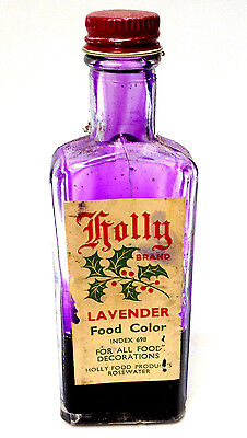 Vintage HOLLY Brand LAVENDER FOOD COLOR BOTTLE With Some Content