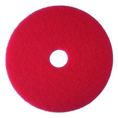 "3M Red Buffer Pad 5100, 17"" Floor Buffer, Machine Use (Case of 5)"