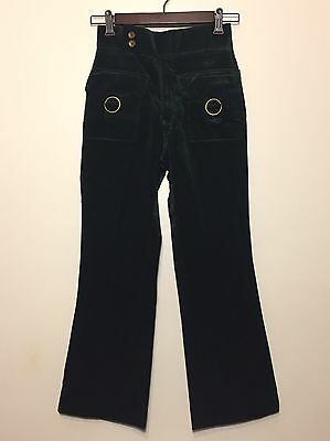 Vintage 1970s New Never Worn Forest Green Velvet Bell Bottom Pants Gold Buckles