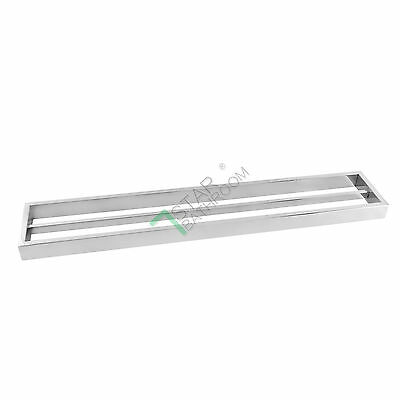 600mm Chrome Silver Double Towel Rack Rail Stainless Steel Bathroom Wall Mounted