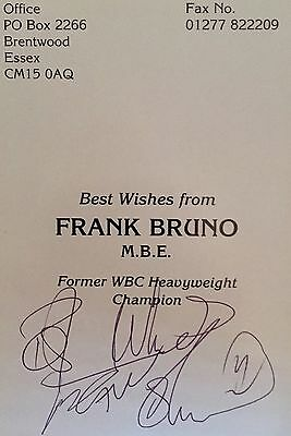 Frank Bruno HAND SIGNED Official PROMO Card BOXING Champion MIKE TYSON Incl. COA