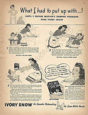 Ivory Snow Laundry Soap for Washing Dishes Original 1943 Vintage Print Ad