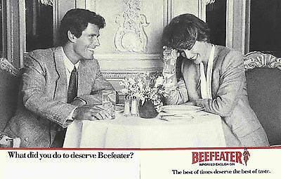 Beefeater Imported English Gin Original 1988 Vintage Black & White Print Ad