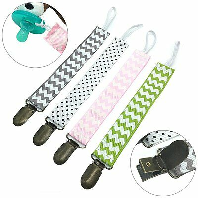 4PCS Baby Boys Girls Dummy Pacifier Soother Nipple Leash Strap Chain Clip Holder
