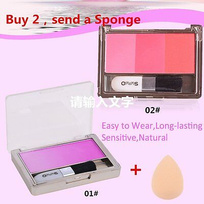 3 Colors Blush Blusher Powder Makeup Palette Cosmetic Shadows Beauty Makeup N GT