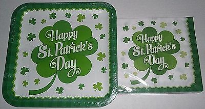 ST PATRICK'S DAY Paper Plates  & Luncheon Napkins  CLOVER STRIPES