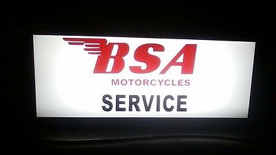 BSA Birmingham Small Arms MOTORCYCLE THEMED LIGHTED SERVICE SIGN