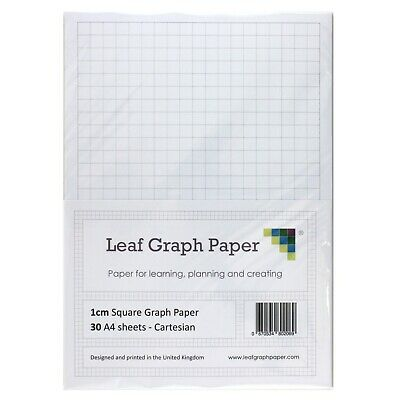A4 Graph Paper Pack, 1cm 10mm Square, 30 Loose-Leaf Sheets, Grey Grid Lines