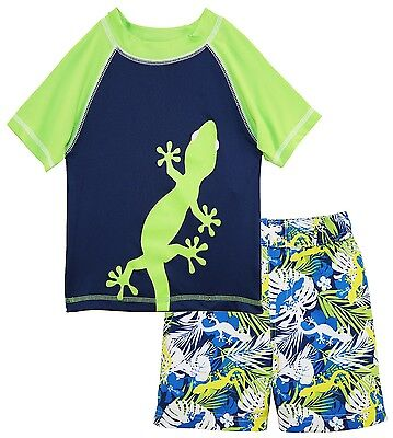 iXtreme Boys Swimwear Lizard Rashguard Top Hibiscus Board Swim Trunk Set