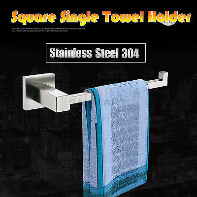 Single Towel Rack Rail Square Clothes Holder Hook Wash Bathroom Kitchen SS304