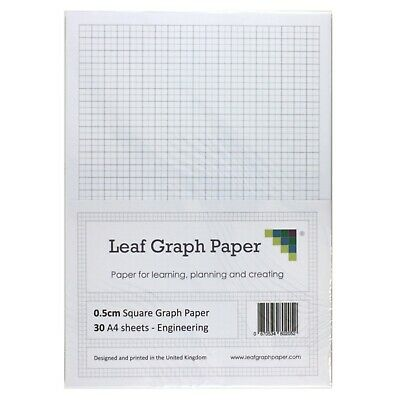 A4 Graph Paper Pack, 0.5cm 5mm Square Eng, 30 Loose-Leaf Sheets, Grey Grid Lines