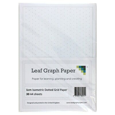 A4 Grid Paper Pack, 1cm 10mm Isometric Dotted Grid, 30 Loose-Leaf Sheets, Grey
