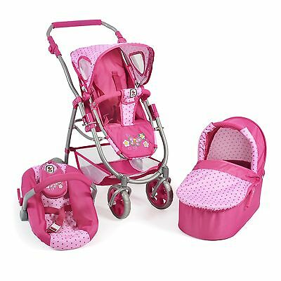 Bayer Chic 2000 3 in 1 Kombi Puppenwagen Emotion All In Dots Pink TOP