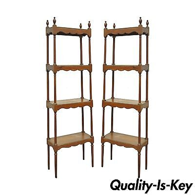 """Pair of 58"""" Narrow Vintage Quigley Arts and Crafts Pine Etagere Shelves Stands"""