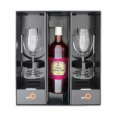 Personalised Mothers Day Wine and Two Glasses - Red, White and Rosé