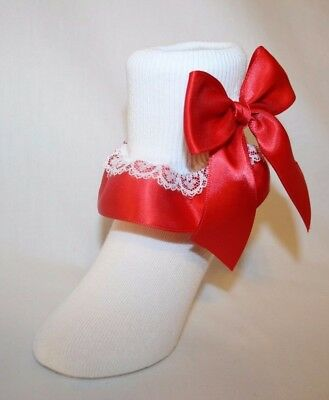 Girls White Cotton Nylon Bobby Socks with Red Satin Ribbon and Bows Bailey