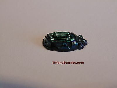 Ca:1910 AUTHENTIC TIFFANY COBALT BLUE FAVRILE ART GLASS IRIDESCENT SCARAB - CHIP