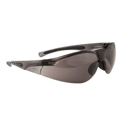 PORTWEST PW39 Lucent Safety Glasses Spectacles Anti-Scratch Curved SMOKE Lens