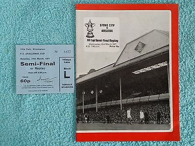 1971 - FA CUP SEMI FINAL REPLAY PROGRAMME + MATCH TICKET - STOKE CITY v ARSENAL