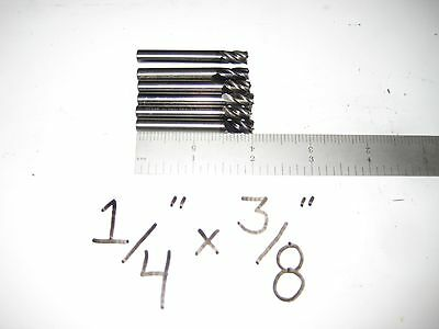 "6 Hanita Carbide 4 Flute Stub Square Endmill End Mill 1/4"" X 3/8"" NEW!"