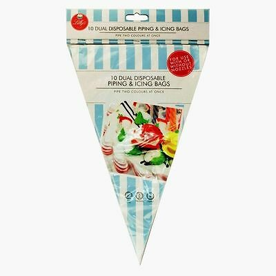 Double Dual Disposable Piping Icing Bags Pipe Two Colours Clear Cupcake Decorate