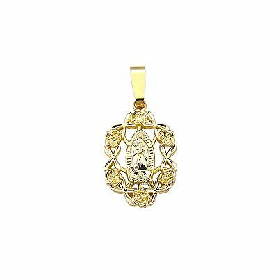 14k Gold Plated Virgen de Guadalupe with Roses Design Charm Pendant