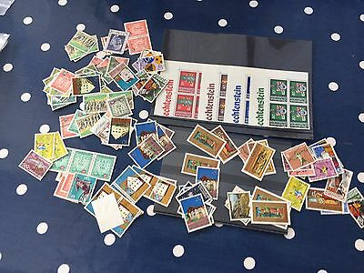 Liechtenstein mint and used stamps on dealer cards big lot