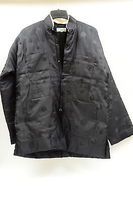 Chinese Traditional Men's  Wadding Black Jacket - XL