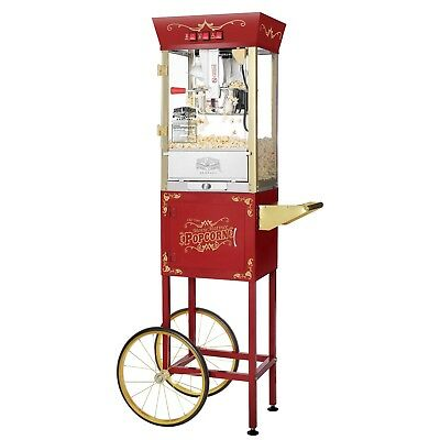 Great Northern Popcorn Red Antique Style Popcorn Popper Machine Cart, 8 Ounce