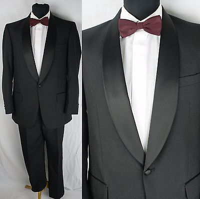 Vintage MOSS BROS Dinner Suit Evening Jacket & Trousers Cruise Black Tie 40 Reg