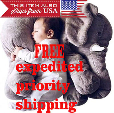 Elephant Pillow XL Cushion Stuffed Doll Toy Baby Kids Soft Plush Lumbar Nose NEW