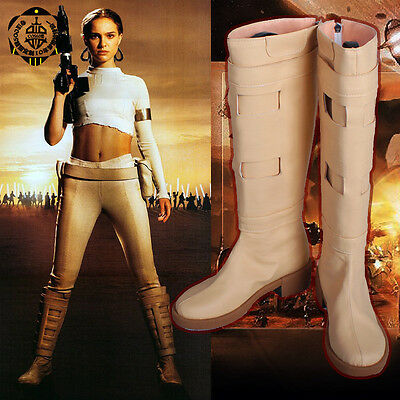 Padme Queen Amidala Boots Star Wars Tan Beige Cosplay Costume Shoes 5-12