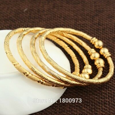 1 pc Dubai Ethiopian African Bangle Jewelry Boys Girls 18K Gold Plated Kids Bang