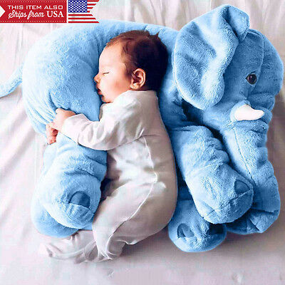 Blue Elephant Pillow XL Cushion Stuffed Doll Toy Baby Kids Soft Plush from USA