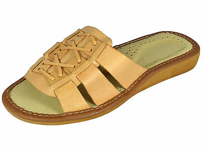 Genuine Ladies Womens Leather Slippers, Mules Sandals Flip Flops Size 3-8