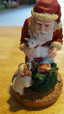 Christmas Santa ornament boxed handcrafted Brinn's 1992 resin 1 of set of 6
