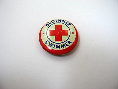 Vintage Collectible Pin: Beginner Swimmer Red Cross