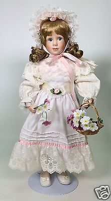 "Danbury Mint Amelia By Jan Garnett 17"" Porcelain Doll Coa Used"